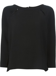 Sessun Raglan Slit Sweater Black