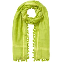 East Silk Cotton Pom Pom Scarf Kiwi