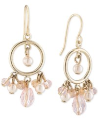 Carolee Gold Tone Imitation Pearl And Rose Quartz Gypsy Hoop Earrings