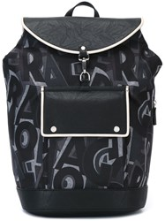 Salvatore Ferragamo All Over Print Backpack Black