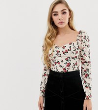 Fashion Union Square Neck Long Sleeved Top In Floral Cream Rose