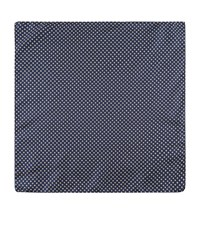 Harrods Of London Micro Flower Print Silk Handkerchief Unisex Navy