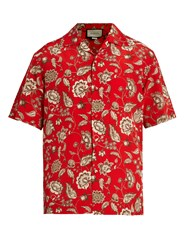 Gucci Floral Print Silk Crepe De Chine Shirt Red Multi