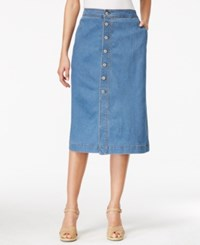 Style And Co Petite Button Down Denim Midi Skirt Only At Macy's Light Antique