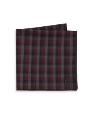 Hook Albert Check Cotton Pocket Square Red