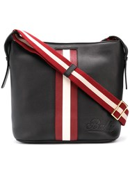Bally Contrasting Panel Shoulder Bag Black