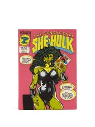 Olympia Le Tan The Sensational She Hulk Embroidered Book Clutch Pink Multi