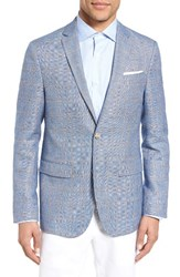Sand Men's Trim Fit Windowpane Wool And Linen Sport Coat