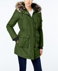 Bcbgeneration Faux Fur Trim Hooded Puffer Parka Army