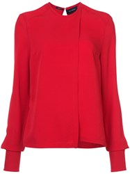 Yigal Azrouel Georgette Blouse Silk Red