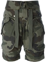 Faith Connexion Camouflage Print Cargo Shorts Green
