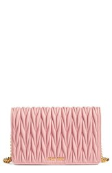 Miu Miu Women's Matelasse Wallet On A Chain Pink