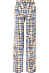 Victoria Beckham Checked Wool And Mohair Blend Wide Leg Pants Blue