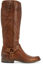 Frye Phillip Harness Tall Leather Boots Brown