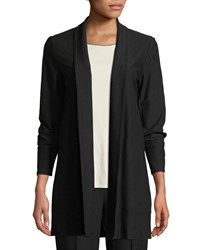 Eileen Fisher Stretch Crepe Open Front Long Jacket Black