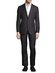 Saks Fifth Avenue Made In Italy Modern Fit Plaid Wool Suit Charcoal Black