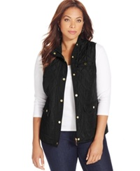 Charter Club Plus Size Quilted Vest Deep Black