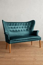 Anthropologie Premium Leather Wingback Bench Mountain Spring
