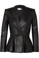 Alexander Mcqueen Double Breasted Pleated Leather Blazer Black