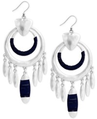 Lucky Brand Silver Tone Wrapped Drop Earrings