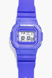 Boohoo Retro Sports Watch With Square Face Blue