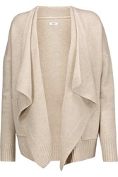 Vince Draped Wool And Cashmere Blend Cardigan Beige