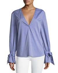 C Meo Collective Unstoppable Tie Cuff Poplin Blouse Blue