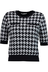 Carven Houndstooth Wool Sweater Blue