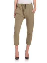 Frame Le Panel Cropped Pants Olive