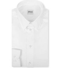 Armani Collezioni Modern Fit Cotton Poplin Single Cuff Shirt White