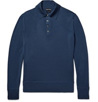 Tom Ford Knitted Wool Polo Shirt Storm Blue