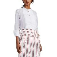 Barneys New York Pleated Cotton Voile Blouse White