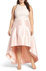 Eliza J Plus Size Women's Crepe And Mikado High Low Gown