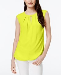 Cece By Cynthia Steffe Pleated Sleeveless Keyhole Top Yellow Lotus