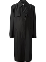 Cedric Charlier Flap Detail Trench Coat Black