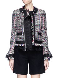 Sacai Guipure Lace Frayed Summer Tweed Jacket Multi Colour