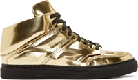 Alejandro Ingelmo Gold Leather Exotron High Top Sneakers
