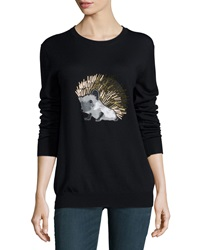 Markus Lupfer Hedgehog Beaded Merino Crewneck Sweater Black
