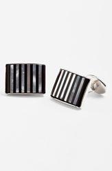 David Donahue Striped Cuff Links Silver Onyx Mother Of Pearl