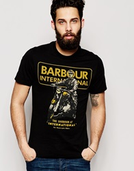 Barbour T Shirt With Archive Motorcycle Print Black
