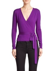 Diane Von Furstenberg Ballerina Wrap Sweater Royal Purple Hot Flamingo Pink Ice
