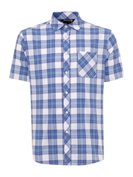 Army And Navy Olton Short Sleeved Check Shirt Blue