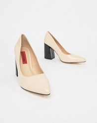 London Rebel Point Block Heels Beige
