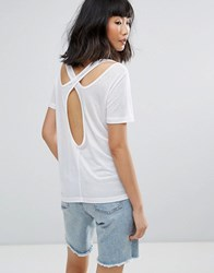 Moss Copenhagen T Shirt With Cut Out Back White
