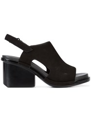 Camper Mid Heel Slingback Sandals Women Leather Rubber 36 Black