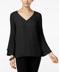 Alfani Flared Sleeve V Neck Top Only At Macy's Deep Black