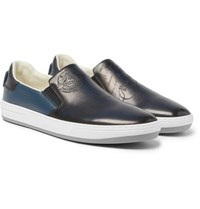 Berluti Outline Polished Leather Slip On Sneakers Navy