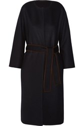 The Row Duna Belted Suede Trimmed Felted Wool Blend Coat Navy