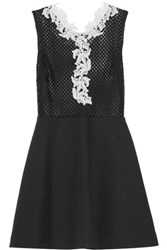Sandro Rama Guipure Lace Trimmed Open Knit And Cotton Blend Mini Dress Black