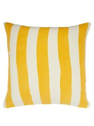 Summerill And Bishop Hand Painted Striped Linen Cushion Yellow